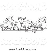 Stock Cartoon of Black and White Christmas Elves Making Toys by Toonaday