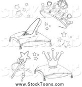 Stock Cartoon of Black and White Princess Accessories by Pushkin