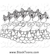 Stock Cartoon of Black and White Six Geese a Laying by Toonaday