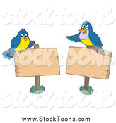 Stock Cartoon of Blue Birds and Blank Wood Signs by Visekart