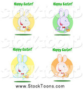 July 26th, 2015: Stock Cartoon of Colorful Rabbits with Happy Easter Greetings by Hit Toon