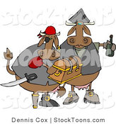 Stock Cartoon of Cow Pirates Carrying Treasure Chest and a Bottle Rum by Dennis Cox