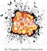 Stock Cartoon of Grunge Circles Butterflies and Vines by KJ Pargeter