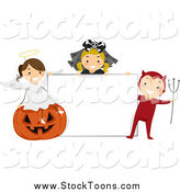 Stock Cartoon of Halloween Kids with a Blank Sign by BNP Design Studio