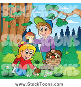 Stock Cartoon of Happy Children Picking Mushrooms Outdoors by Visekart