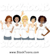 Stock Cartoon of Happy Diverse Girl Friends Wearing White Shirts on International Womens Day by BNP Design Studio