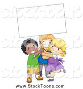 October 12nd, 2014: Stock Cartoon of Happy Diverse School Kids Holding up a Blank Sign by BNP Design Studio