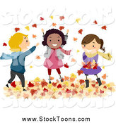 Stock Cartoon of Happy Diverse Stick Kids Playing in Autumn Leaves by BNP Design Studio