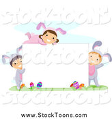 Stock Cartoon of Happy Easter Kids in Bunny Costumes, Around a Blank Sign by BNP Design Studio