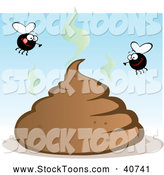 Stock Cartoon of Happy Flies over a Smelly Pile of Poo by Hit Toon