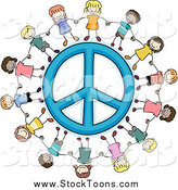 Stock Cartoon of Happy Kids Holding Hands Around a Peace Symbol by BNP Design Studio