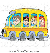 Stock Cartoon of Happy School Children and Driver on a Bus by Visekart