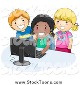 Stock Cartoon of Happy School Kids Using a Computer by BNP Design Studio