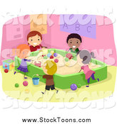 Stock Cartoon of Happy Stick Students Playing in a Sand Box by BNP Design Studio