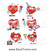 Stock Cartoon of Hearts in Different Poses by Hit Toon