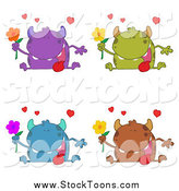 Stock Cartoon of Romantic Monsters with Flowers by Hit Toon