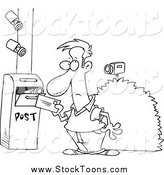 Stock Cartoon of Security Cameras on a Man Putting a Letter in a Mail Box by Toonaday