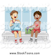Stock Cartoon of Teenage Boy Athletes in a Gym Locker Room by BNP Design Studio