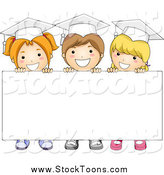 Stock Cartoon of Three Graduate School Kids Holding up a Blank Sign by BNP Design Studio
