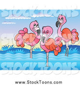October 3rd, 2014: Stock Cartoon of Three Pink Flamingos Wading by Visekart