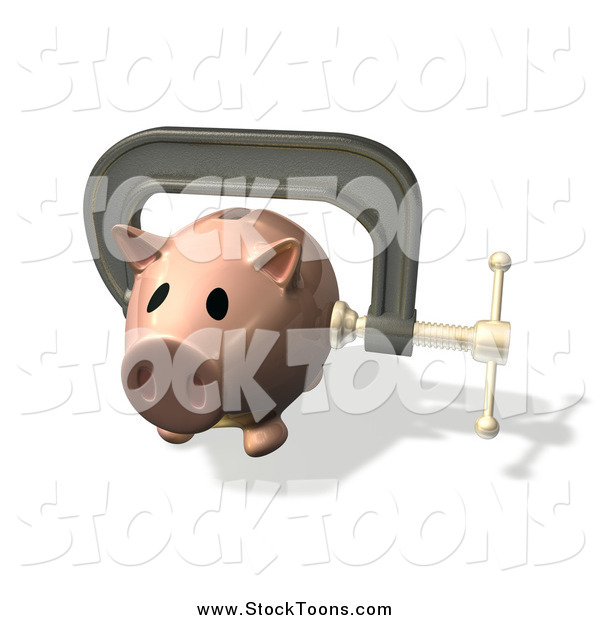 Stock Cartoon of a 3d Piggy Bank Clamped in Vice Grips