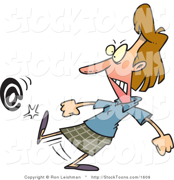Stock Cartoon of a Angry Woman Kicking an at Symbol
