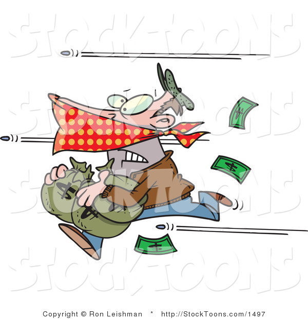 Stock Cartoon of a Bank Robber Stealing Money and Being Shot at