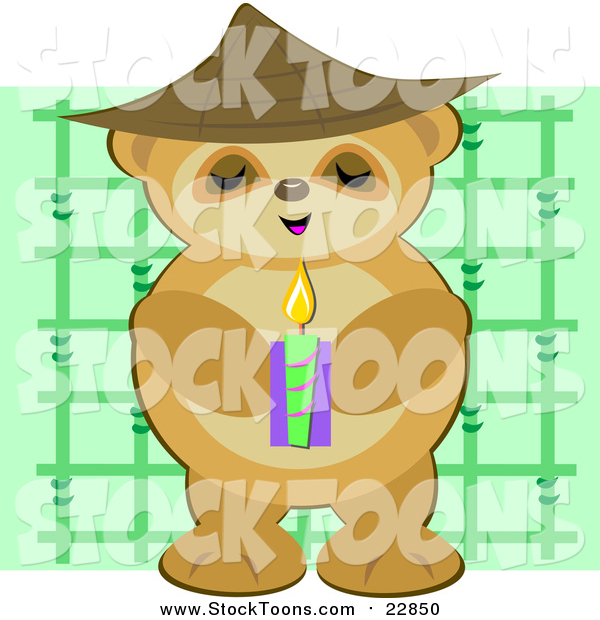 Stock Cartoon of a Bear Monk Holding a Candle