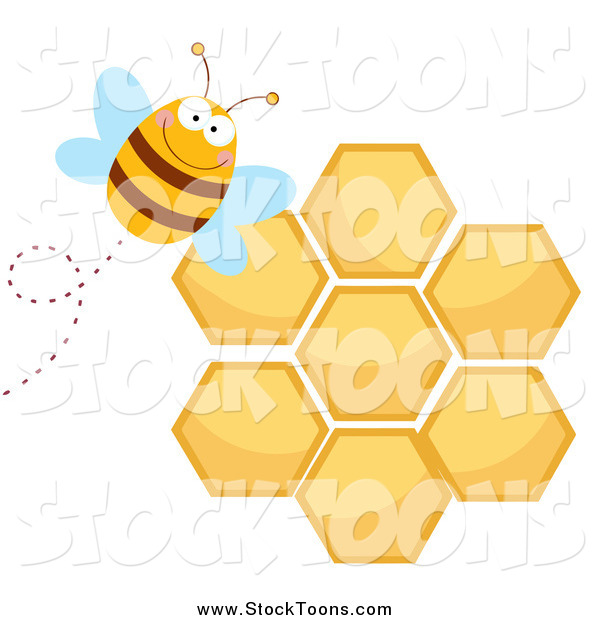 Stock Cartoon of a Bee by a Honeycomb