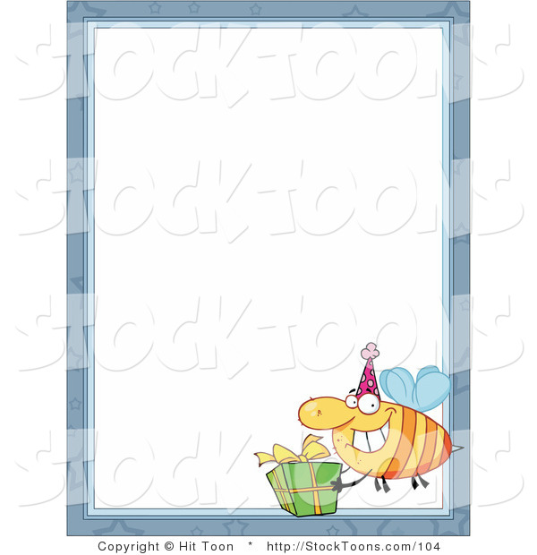 Stock Cartoon of a Bee Carrying a Birthday Present