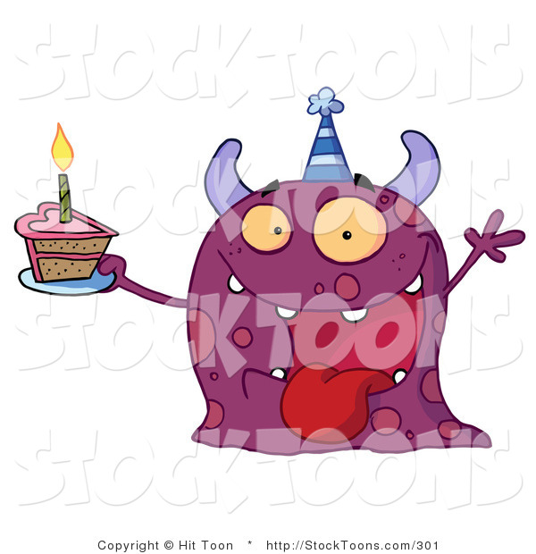 Stock Cartoon of a Birthday Monster