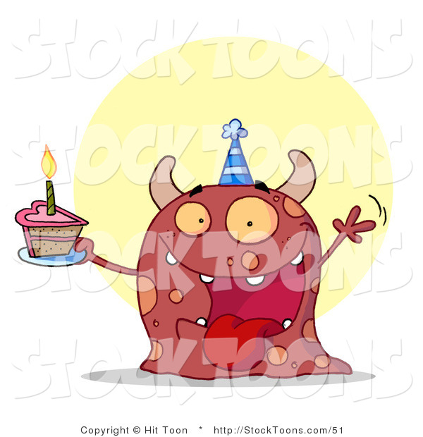 Stock Cartoon of a Birthday Party Monster Waving