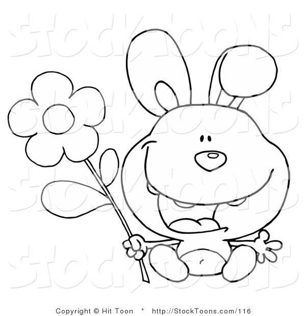 Stock Cartoon of a Black and White Bunny