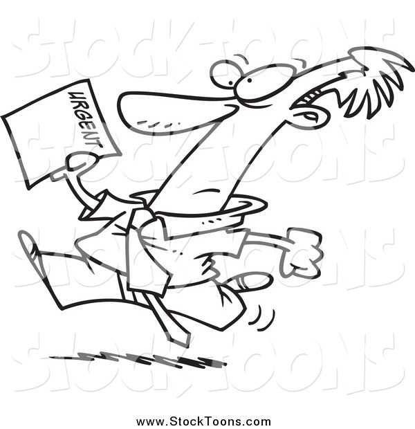 Stock Cartoon of a Black and White Businessman Running to Deliver an Urgent Memo