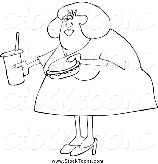 Stock Cartoon of a Black and White Chubby Woman Carrying a Soda and Hamburger