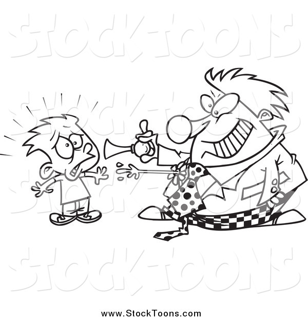 Stock Cartoon of a Black and White Clown Scaring a Boy