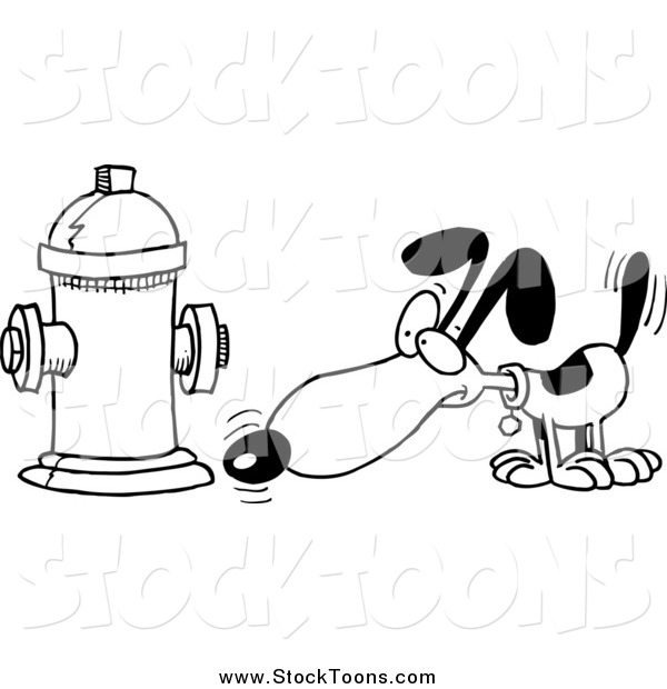 Stock Cartoon of a Black and WHite Dog Anticipating Relieving Himself on a Hydrant