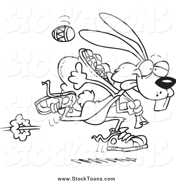 Stock Cartoon of a Black and White Easter Bunny Running with a Bag of Eggs