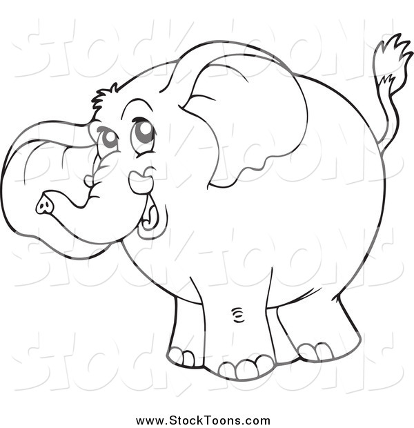 Stock Cartoon of a Black and White Elephant