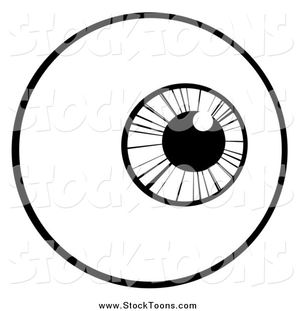 Stock Cartoon of a Black and White Eyeball