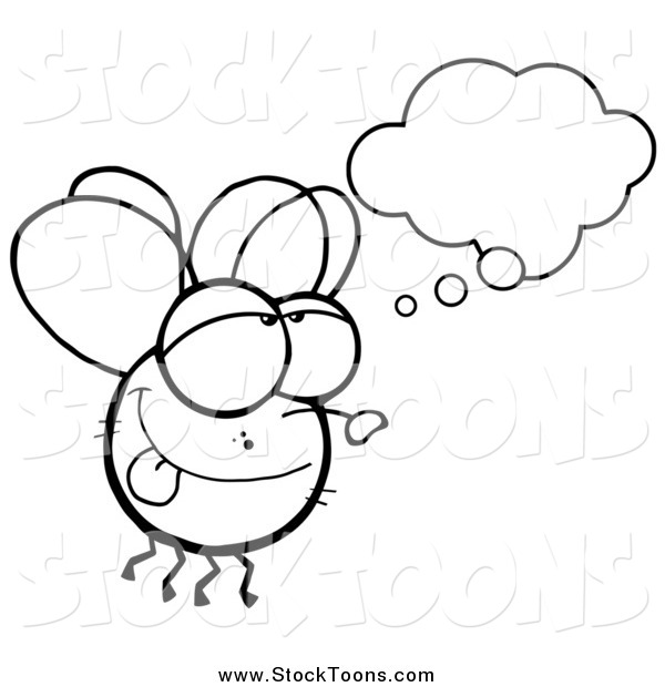Stock Cartoon of a Black and White Fly Daydreaming