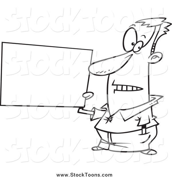 Stock Cartoon of a Black and White Guy Holding a Blank Sign