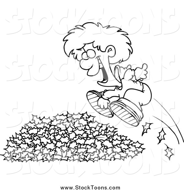 Stock Cartoon of a Black and White Happy Little Boy Jumping in Leaves