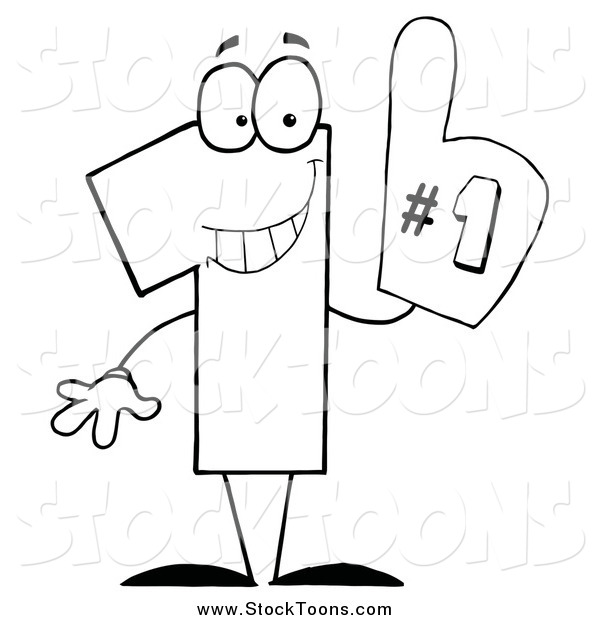 Stock Cartoon of a Black and White Number One Character Wearing a Hand Glove