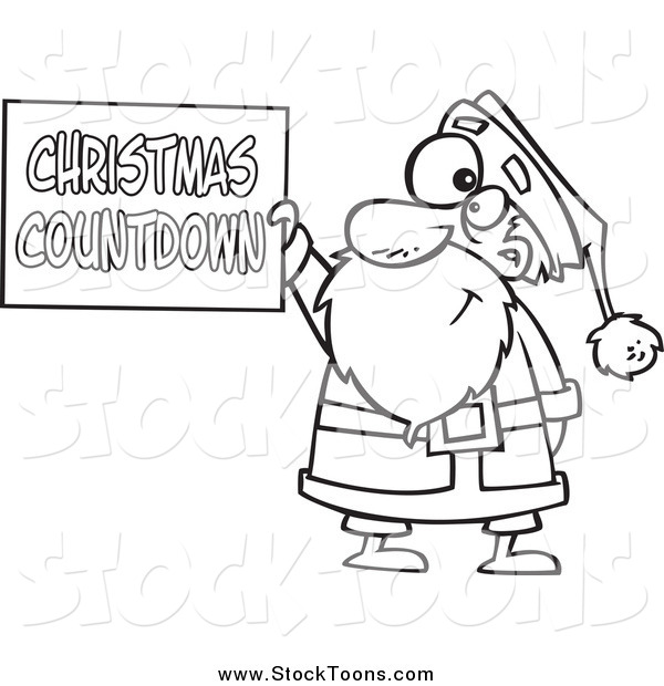 Stock Cartoon of a Black and White Santa Holding a Christmas Countdown Sign