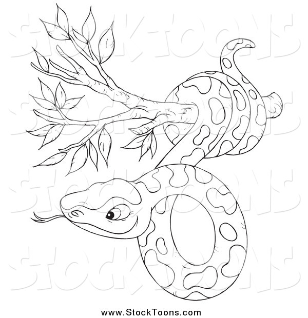 Stock Cartoon of a Black and White Snake in a Tree