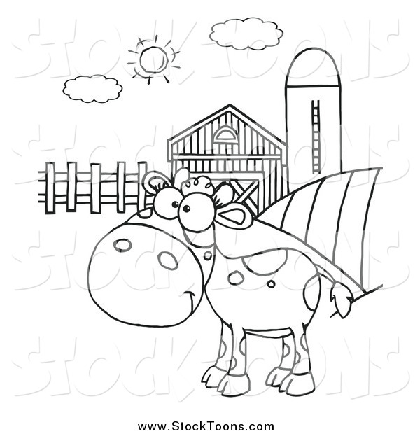 Stock Cartoon of a Black and White Spotted Calf in a Pasture by a Barn and Silo