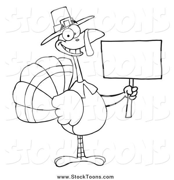 Stock Cartoon of a Black and White Thanksgiving Pilgrim Turkey Bird Holding a Blank Sign