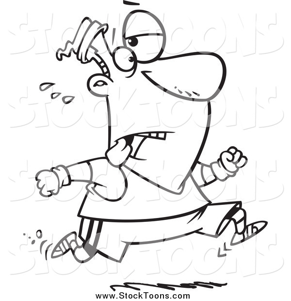 Stock Cartoon of a Black and White Tired Man Jogging