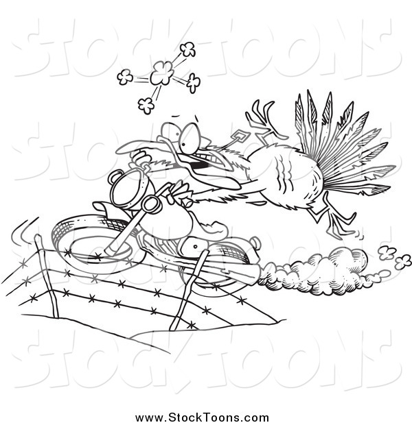 Stock Cartoon of a Black and White Turkey Bird Escaping on a Motorcycle